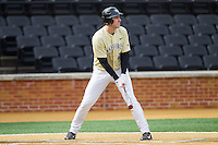Matt Conway (25) of the Wake Forest Demon Deacons at bat against the Marshall Thundering Herd at Wake Forest Baseball Park on February 17, 2014 in Winston-Salem, North Carolina.  The Demon Deacons defeated the Thundering Herd 4-3.  (Brian Westerholt/Four Seam Images)