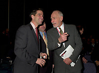 March 19 2003, Montreal, Quebec, Canada<br /> <br />   Andre Boisclair, Quebec's Environment Minister(L) and Martin Dusseault, President of Reseau Environement (M)and<br /> David Anderson,Canada's  Environment Minister, (R )jokes while arriving for  the  opening plenary session of Americana, a 3 days conference and  trade show on environment and waste management organized by Reseau Environnement, March 19, 2003 in Montreal, Canada.<br /> <br /> Mandatory Credit: Photo by Pierre Roussel- Images Distribution. (©) Copyright 2003 by Pierre Roussel <br /> <br /> NOTE : <br />  Nikon D-1 jpeg opened with Qimage icc profile, saved in Adobe 1998 RGB<br /> .Uncompressed  Original  size  file availble on request.