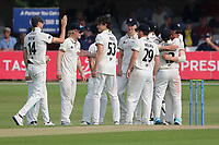 Tom Price of Gloucestershire celebrates with his team mates after taking the wicket of Adam Wheater during Essex CCC vs Gloucestershire CCC, LV Insurance County Championship Division 2 Cricket at The Cloudfm County Ground on 6th September 2021