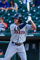 Colorado Springs Sky Sox outfielder Kyle Wren (5) at bat during game one of a Pacific Coast League doubleheader against the Iowa Cubs on August 17, 2017 at Principal Park in Des Moines, Iowa. Iowa defeated Colorado Springs 1-0. (Brad Krause/Four Seam Images)