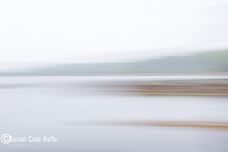 A foggy day on Taunton Bay in Sullivan, Maine, USA