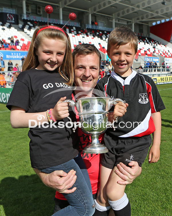 2014 McCAMBLEY CUP FINAL - Ards 4 vs Cookstown   Saturday 26th April 2014<br /> <br /> Stephen Bell with his children after the 2014 McCambley Cup Final between Ards 4's and Cookstown at Ravenhill Stadium, Belfast.<br /> <br /> Mandatory Credit - Photo by John Dickson - DICKSONDIGITAL