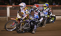 Heat 5: Peter Karlsson (red), Mads Korneliussen (white), Lewis Bridger (blue) and Simon Stead (yellow) - Lakeside Hammers vs Leicester Lions, Elite League Speedway at the Arena Essex Raceway, Pufleet - 04/04/14 - MANDATORY CREDIT: Rob Newell/TGSPHOTO - Self billing applies where appropriate - 0845 094 6026 - contact@tgsphoto.co.uk - NO UNPAID USE