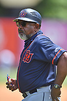 Bowling Green Hot Rods coach Skeeter Barnes (9) during a game against the Asheville Tourists on May 30, 2021 at McCormick Field in Asheville, NC. (Tony Farlow/Four Seam Images)
