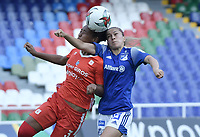 CALI - COLOMBIA, 07-12-2020: Anlly Iglesias del América y Tatiana Ariza de Millonarios durante el partido entre América de Cali y Millonarios F.C. por la semifinal vuelta como parte de la Liga Femenina BetPlay DIMAYOR 2020 jugado en el estadio Pascual Guerrero de la ciudad de Cali. / Anlly Iglesias of America and Tatiana Ariza of Millonarios during second leg semifinal match as part of Women's BetPlay DIMAYOR 2020 League between America de Cali and Millonarios F.C. played at Pascual Guerrero stadium in Cali. Photo: VizzorImage / Gabriel Aponte / Staff