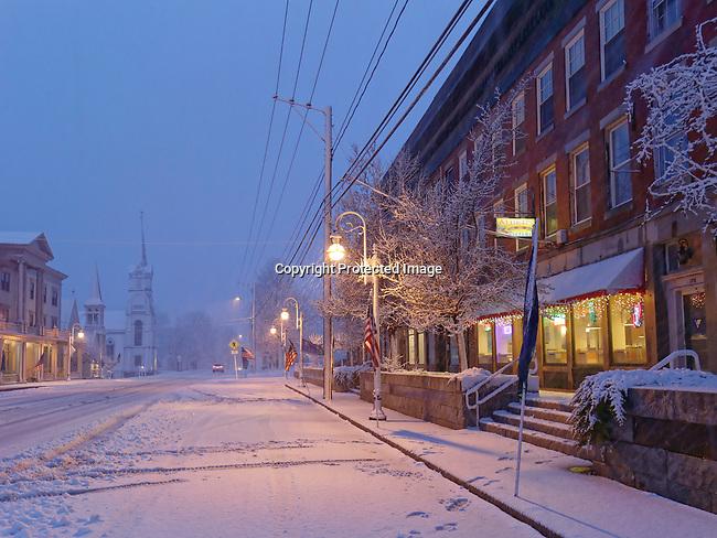 Winter evening, Thomaston, Maine, USA