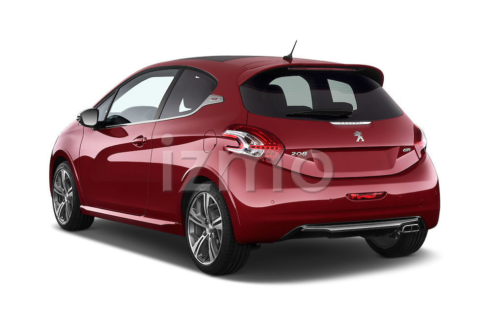 Car pictures of rear three quarter view of a 2014 Peugeot 208 GTI 3 Door Hatchback 2WD Angular Rear