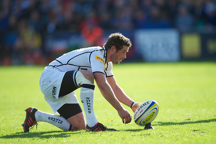Nick MacLeod of Sale Sharks lines up a conversion attempt during the Aviva Premiership match between Bath Rugby and Sale Sharks at the Recreation Ground on Saturday 29th September 2012 (Photo by Rob Munro)