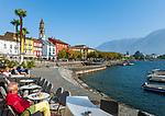 Switzerland, Ticino, Ascona at Lago Maggiore: seaside restaurant and café | Schweiz, Tessin, Ascona am Lago Maggiore: Café und Bar direkt am See