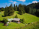 Deutschland, Bayern, Chiemgau, oberhalb Bergen: Klauserkaser-TSV-Huette auf der Bruendlingalm | Germany, Bavaria, Chiemgau, above Bergen: Klauserkaser-TSV-hut at alpine pasture Bruendling Alm