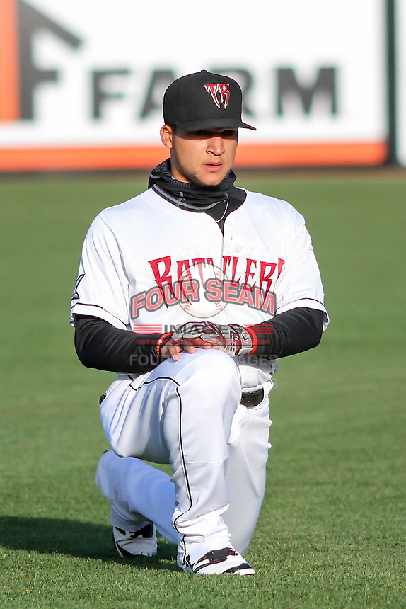 Wisconsin Timber Rattlers shortstop Isan Diaz (6) stretches prior to a Midwest League game against the Great Lakes Loons on April 26th, 2016 at Fox Cities Stadium in Appleton, Wisconsin.  Wisconsin defeated Great Lakes 4-3. (Brad Krause/Four Seam Images)