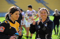 Taranaki manager Nikita Hall and WRFU events manager Jo Grant during the Mitre 10 Cup rugby union match between Wellington Lions and Taranaki at Westpac Stadium in Wellington, New Zealand on Sunday, 9 October 2016. Photo: Dave Lintott / lintottphoto.co.nz