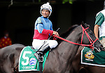 ARLINGTON HEIGHTS, IL - AUGUST 13: Cordon #5, ridden by Carlos Marquez Jr., during the post parade before the Secretariat Stakes at Arlington International Racecourse on August 13, 2016 in Arlington Heights, Illinois. (Photo by Jon Durr/Eclipse Sportswire/Getty Images)
