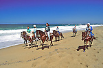 Michael Mastroianni, Barbara, Sarah & Ione Riding Horses On Beach