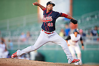 Peoria Chiefs pitcher Kender Villegas (40) delivers a pitch during a game against the Lansing Lugnuts on June 6, 2015 at Cooley Law School Stadium in Lansing, Michigan.  Lansing defeated Peoria 6-2.  (Mike Janes/Four Seam Images)