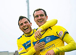 Inverness Caledonian Thistle v St Johnstone...27.10.12      SPL.David Robertson celebrates his late equaliser with Gary Miller.Picture by Graeme Hart..Copyright Perthshire Picture Agency.Tel: 01738 623350  Mobile: 07990 594431