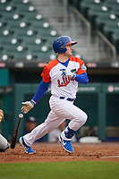 """Buffalo Bisons Billy McKinney (11) during an International League game against the Scranton/Wilkes-Barre RailRiders on June 5, 2019 at Sahlen Field in Buffalo, New York.  The Bisons wore special uniforms as they played under the name the """"Buffalo Wings"""".  Scranton defeated Buffalo 3-0, the first game of a doubleheader.  (Mike Janes/Four Seam Images)"""