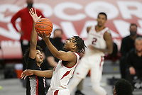 Arkansas guard JD Notae (1) shoots, Saturday, January 9, 2021 during the first half of a basketball game at Bud Walton Arena in Fayetteville. Check out nwaonline.com/210110Daily/ for today's photo gallery. <br /> (NWA Democrat-Gazette/Charlie Kaijo)