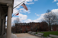 Bunker Hill memorial entrance with flags, Boston, MA