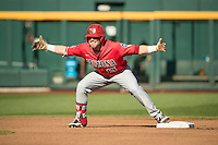 Cody Ramer #13 of the Arizona Wildcats celebrates during a College World Series Finals game between the Coastal Carolina Chanticleers and Arizona Wildcats at TD Ameritrade Park on June 27, 2016 in Omaha, Nebraska. (Brace Hemmelgarn/Four Seam Images)