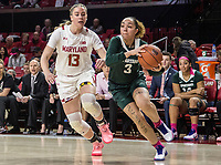 COLLEGE PARK, MD - FEBRUARY 03: Alyza Winston #3 of Michigan State powers her wy past Faith Masonius #13 of Maryland during a game between Michigan State and Maryland at Xfinity Center on February 03, 2020 in College Park, Maryland.