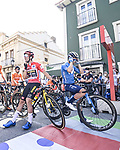 Red Jersey Primoz Roglic (SLO) Jumbo-Visma and Miguel Angel Lopez Mpoeno (COL) Movistar Team wait for the start of Stage 19 of La Vuelta d'Espana 2021, running 191.2km from Tapia de Casariego to Monforte de Lemos, Spain. 3rd September 2021.    <br /> Picture: Unipublic/Charly Lopez   Cyclefile<br /> <br /> All photos usage must carry mandatory copyright credit (© Cyclefile   Charly Lopez/Unipublic)