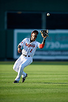 Lansing Lugnuts shortstop Otto Lopez (2) catches a popup during a Midwest League game against the Burlington Bees on July 18, 2019 at Cooley Law School Stadium in Lansing, Michigan.  Lansing defeated Burlington 5-4.  (Mike Janes/Four Seam Images)