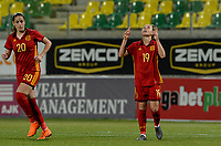 20180307 - LARNACA , CYPRUS : Spanish Amanda Sampedro Bustos (19)  pictured celebrating her goal and the 1-0 lead during a women's soccer game between Italy and Spain , on wednesday 7 March 2018 at the AEK Arena in Larnaca , Cyprus . This is the final game for the first place  for  Italy and  Spain on the Cyprus Womens Cup , a prestigious women soccer tournament as a preparation on the World Cup 2019 qualification duels. PHOTO SPORTPIX.BE | DAVID CATRY