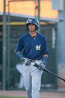 AZL Brewers second baseman Yeison Coca (7) at bat against the AZL Athletics on August 18, 2017 at Lew Wolff Training Complex in Mesa, Arizona. AZL Brewers defeated the AZL Athletics 6-4. (Zachary Lucy/Four Seam Images)