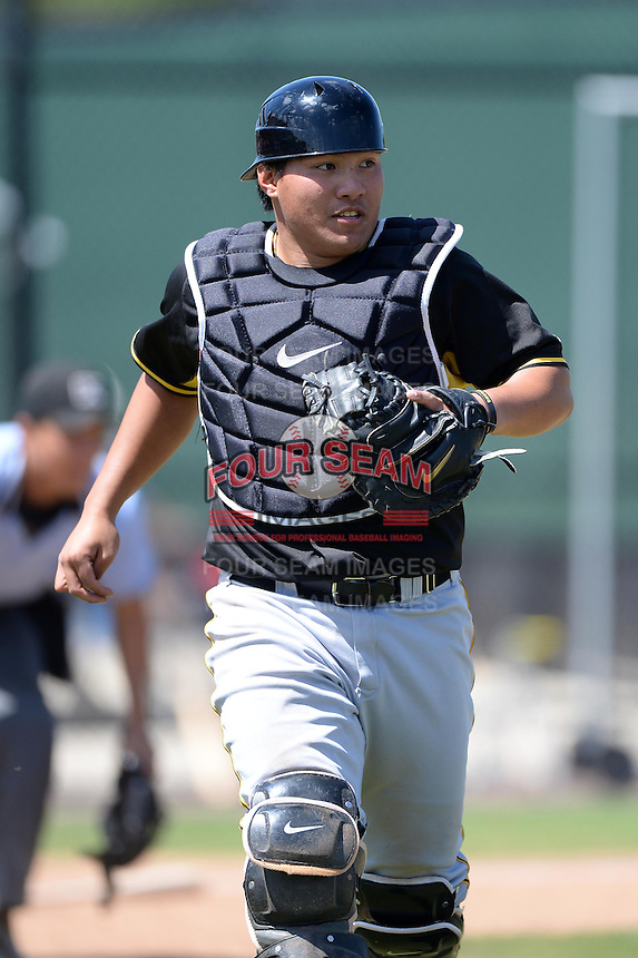 Pittsburgh Pirates catcher Jin De Jhang (27) during a minor league spring training game against the Philadelphia Phillies on March 18, 2014 at the Carpenter Complex in Clearwater, Florida.  (Mike Janes/Four Seam Images)