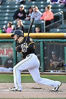 John Hester (22) of the Salt Lake Bees at bat against the Las Vegas 51s at Smith's Ballpark on May 8, 2014 in Salt Lake City, Utah.  (Stephen Smith/Four Seam Images)