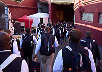 LOS ANGELES, CA - SEPTEMBER 11: The Stanford Cardinal walk to the locker room before a game between University of Southern California and Stanford Football at Los Angeles Memorial Coliseum on September 11, 2021 in Los Angeles, California.