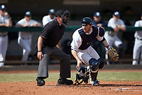 Ryan Sloniger (11) of the Penn State Nittany Lions chases a ball against the Xavier Musketeers at Coleman Field at the USA Baseball National Training Center on February 25, 2017 in Cary, North Carolina. The Musketeers defeated the Nittany Lions 10-4 in game one of a double header. (Brian Westerholt/Four Seam Images)
