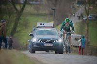 3 Days of De Panne.stage 1: Middelkerke - Zottegem..Damien Gaudin (FRA) leading on the Haaghoek