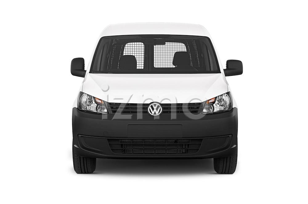 Car photography straight front view of a 2014 Volkswagen CADDY 1.6 TDI 4 Door Car Van Front View