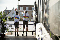 Mieke Kröger (DEU/Coop - Hitec Products) & Lisa Klein (DEU/Canyon SRAM) waving to friends/fans after finishing off the podium ceremony<br /> <br /> Mixed Relay TTT <br /> Team Time Trial from Knokke-Heist to Bruges (44.5km)<br /> <br /> UCI Road World Championships - Flanders Belgium 2021<br /> <br /> ©kramon