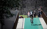 David Lopez (ESP/SKY) on his way to the start<br /> <br /> stage 15 (iTT): Castelrotto-Alpe di Siusi 10.8km<br /> 99th Giro d'Italia 2016