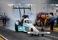 Jul 11, 2020; Clermont, Indiana, USA; NHRA top fuel driver Justin Ashley during qualifying for the E3 Spark Plugs Nationals at Lucas Oil Raceway. This is the first race back for NHRA since the start of the COVID-19 global pandemic. Mandatory Credit: Mark J. Rebilas-USA TODAY Sports