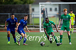 Kerry's Junior Ankomah in possession slips past Waterford's Charlie Bionions and Liam Kervic in the EA Sports U19 League of Ireland