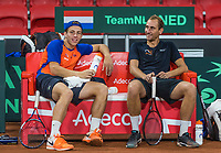 The Hague, The Netherlands, September 13, 2017,  Sportcampus , Davis Cup Netherlands - Chech Republic, Training Dutch team, Thiemo de Bakker (NED) and Tallon Griekspoor (NED) (L)<br /> Photo: Tennisimages/Henk Koster