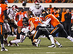 Oklahoma State Cowboys linebacker Alex Elkins (37) in action during the game between the Oklahoma Sooners and the Oklahoma State Cowboys at the Boone Pickens Stadium in Stillwater, OK. Oklahoma State defeats Oklahoma 44 to 10..