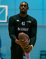Emondre Rickman of Surrey Scorchers warms up during the BBL Championship match between Surrey Scorchers and Newcastle Eagles at Surrey Sports Park, Guildford, England on 20 March 2021. Photo by Liam McAvoy.