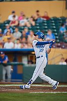 Logan Moon (32) of the Omaha Storm Chasers bats against the Round Rock Express at Werner Park on May 27, 2018 in Papillion , Nebraska. Round Rock defeated Omaha 8-3. (Stephen Smith/Four Seam Images)
