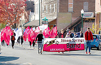 Marc Hayot/Herald Leader The Siloam Springs Band marches down Broadway during the 2019 Veterans Day Parade.