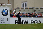 Graeme McDowell (NIR) tees off on the 1st tee to start his round on Day 2 of the BMW PGA Championship Championship at, Wentworth Club, Surrey, England, 27th May 2011. (Photo Eoin Clarke/Golffile 2011)