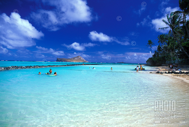 Waimanalo Beach is a favorite place to relax in warm ,blue water, white sand and gentle surf. Located near the town of Waimanalo on Oahu's windward coast. Rabbit island (Manana isl.) in the background.