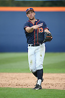 Timmy Richards #13 of the Cal State Fullerton Titans makes a throw to first base during a game against the Stanford Cardinal at Goodwin Field on February 19, 2017 in Fullerton, California. Stanford defeated Cal State Fullerton, 8-7. (Larry Goren/Four Seam Images)