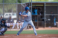 AZL Royals center fielder Bubba Starling (7) at bat in front of catcher Rainier Aguilar (8) during a rehab assignment in an Arizona League game against the AZL Padres 1 at Peoria Sports Complex on July 4, 2018 in Peoria, Arizona. The AZL Royals defeated the AZL Padres 1 5-4. (Zachary Lucy/Four Seam Images)