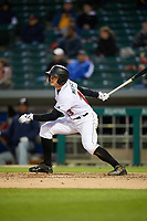 Indianapolis Indians right fielder Austin Meadows (13) at bat during a game against the Toledo Mud Hens on May 2, 2017 at Victory Field in Indianapolis, Indiana.  Indianapolis defeated Toledo 9-2.  (Mike Janes/Four Seam Images)
