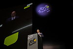 Jean-Etienne Amaury President of Amaury Sport Organisation speaks at the Tour de France 2020 route presentation held in the Palais des Congrès de Paris (Porte Maillot), Paris, France. 15th October 2019.<br /> Picture: ASO/Thomas Colpaert | Cyclefile<br /> <br /> All photos usage must carry mandatory copyright credit (© Cyclefile | ASO/Thomas Colpaert)